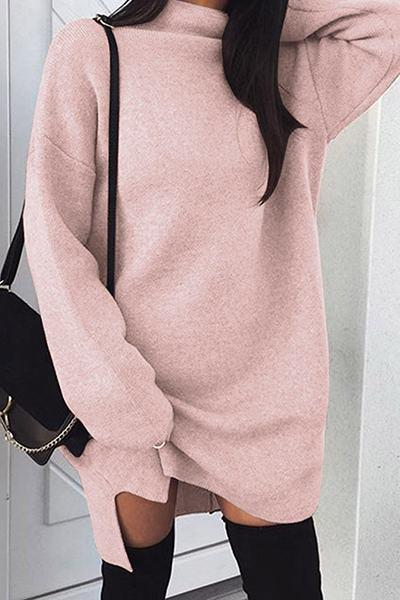 Plain Long Sleeve Turtle Neck Chic Long Sweater Top Mini Dress