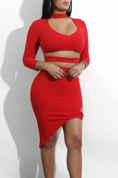 Plain Scoop Neck 3/4 Length Sleeve Short Dress