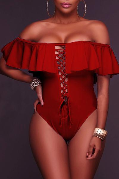 Plain Off Shoulder High Rise Regular Swimsuit