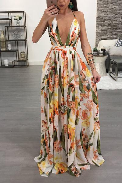 Sleeveless Deep V Neck Long Floral Print Maxi Gown Dress f94458a76