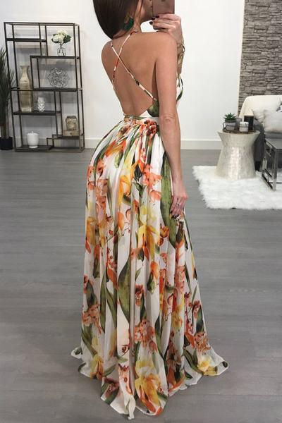 Sleeveless Deep V Neck Long Floral Print Maxi Gown Dress