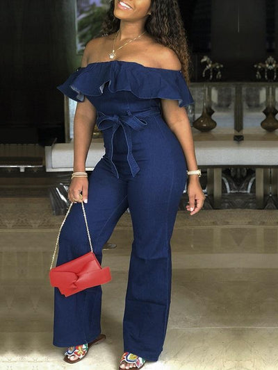 Ruffle Off Shoulder Jumpsuit with Belt