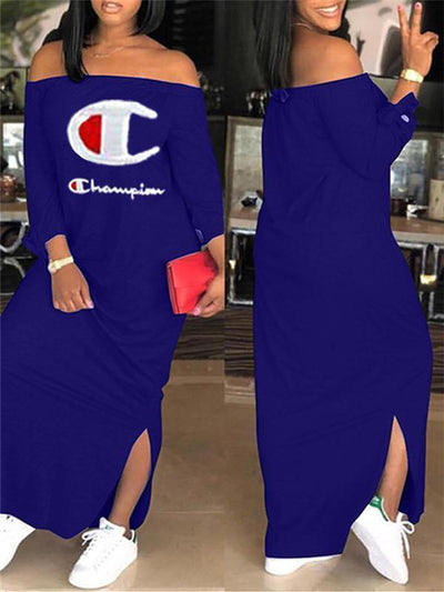 Logo Off Shoulder Slit Dress