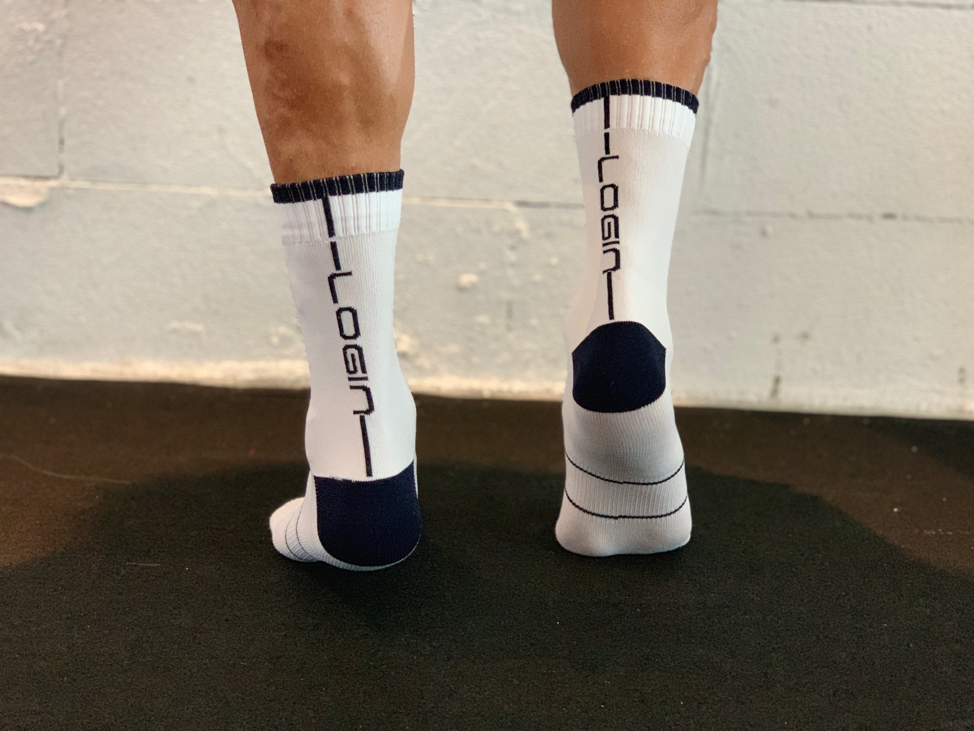 White/Navy Socks