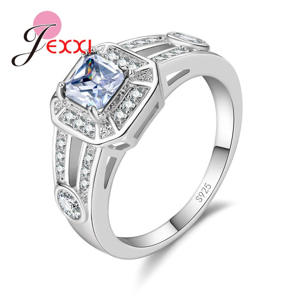 JEXXI Elegant Square Wedding Fine Jewelry Banquet Party Rings Inlay Zircon 925 Sterling Silver Fashion Charm Ring Luxury  Acce