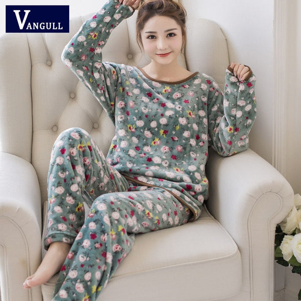 VANGULL Women Coral Velvet Suit Two Piece 2018 New Autumn Winter Pajamas Warm Floral Sleepwear Long Sleeve Tops Long Pants Set