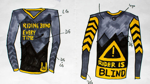 Serge Drawn image of his idea for a custom mountain bike jersey