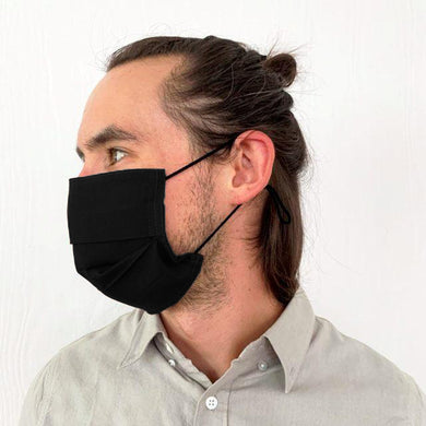Black Flat Pleated Face Mask