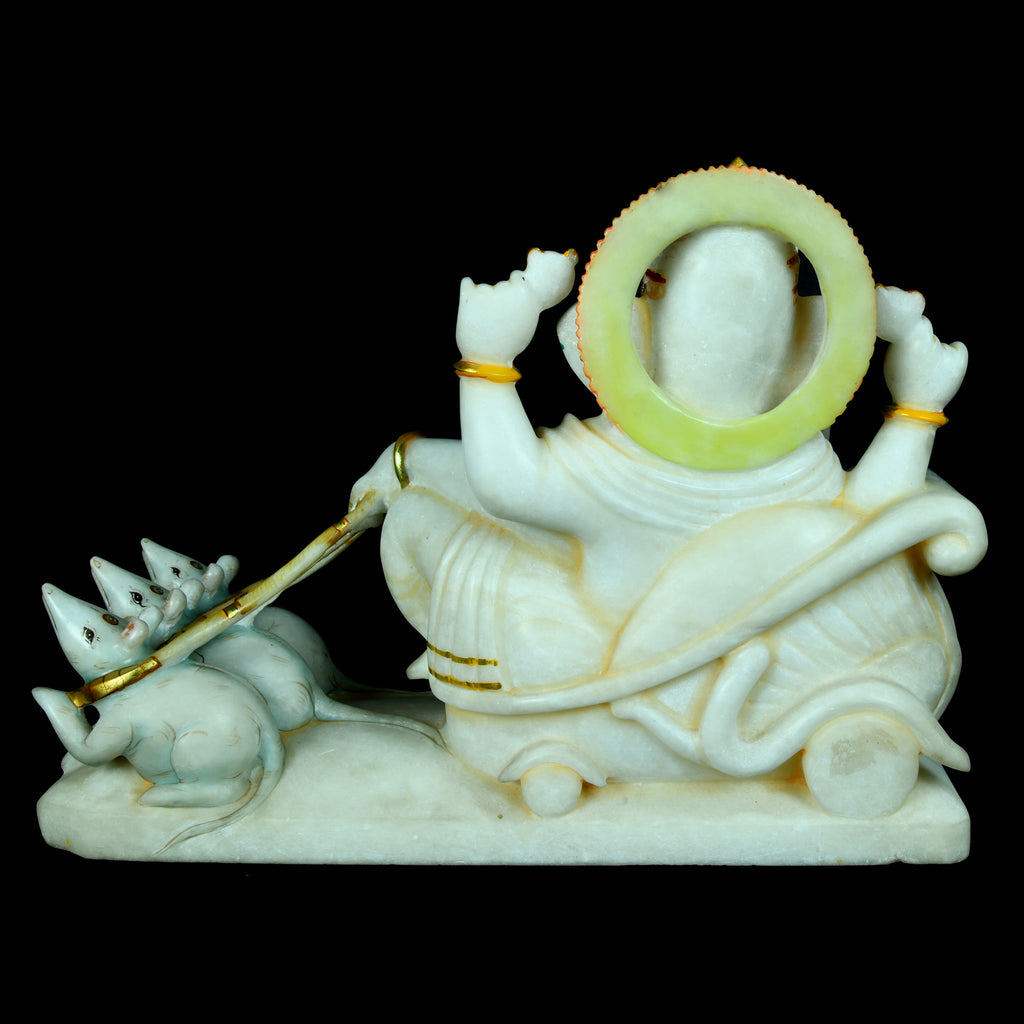 Marble Ganesha on Mouse Ratha