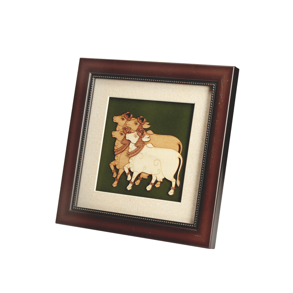 Cows Wooden Carving Frame