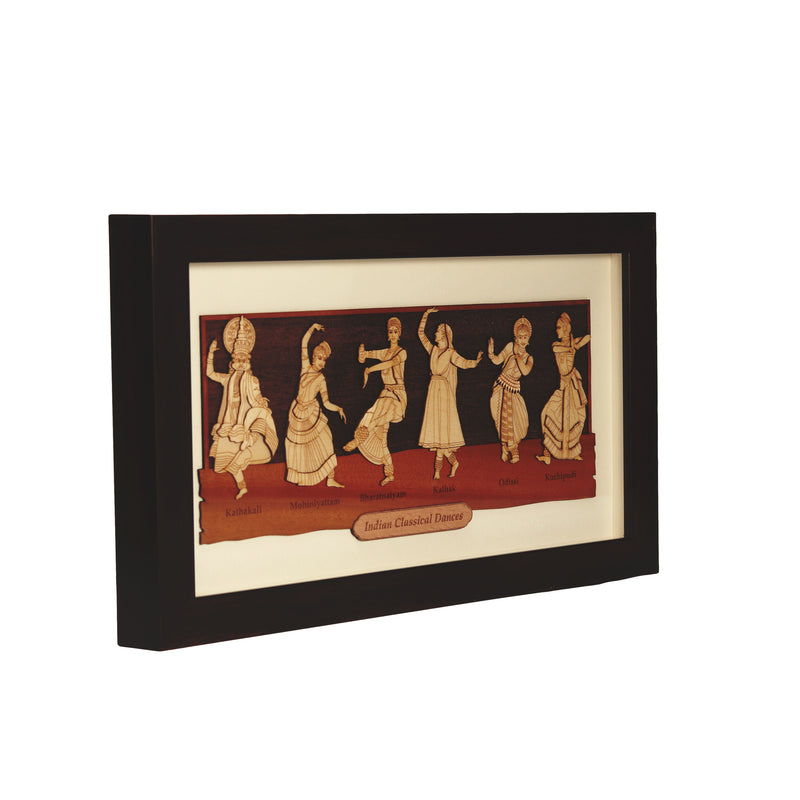 Indian Classical  Dancing Form Wooden Carving Frame