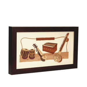 Indian Classical Musical Instrument Wooden Carving Frame