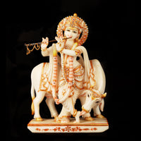 Marble Standing Krishna With Cow