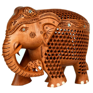 Wooden Carving Elephant With Inlay Work ragaarts.myshopify.com