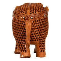 Wooden Carving Elephant With Inlay Work