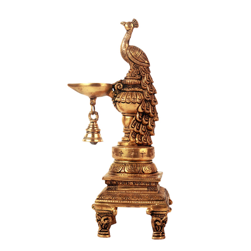 Peacock Sitting Lamp With Diya Bell
