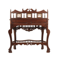 Wooden Console Table With Dhokra Art and Drawer