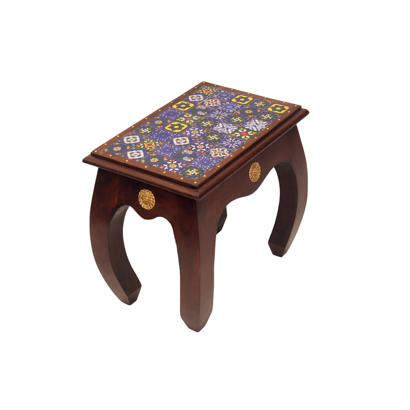 Wooden Side Table With Marble Top