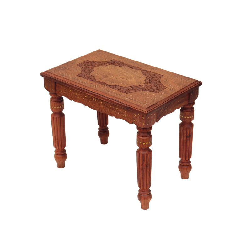 Wooden Side Table With Enla Work