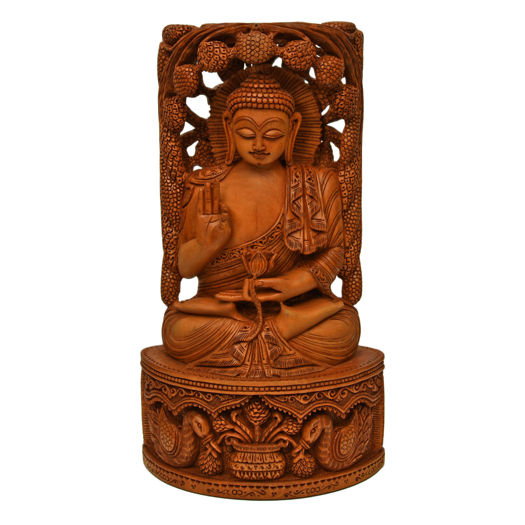 Buddha Groove Hand Carved Wood Sitting with Tree