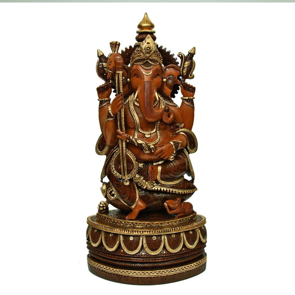 Musical Ganesha Sitting on Shankhu