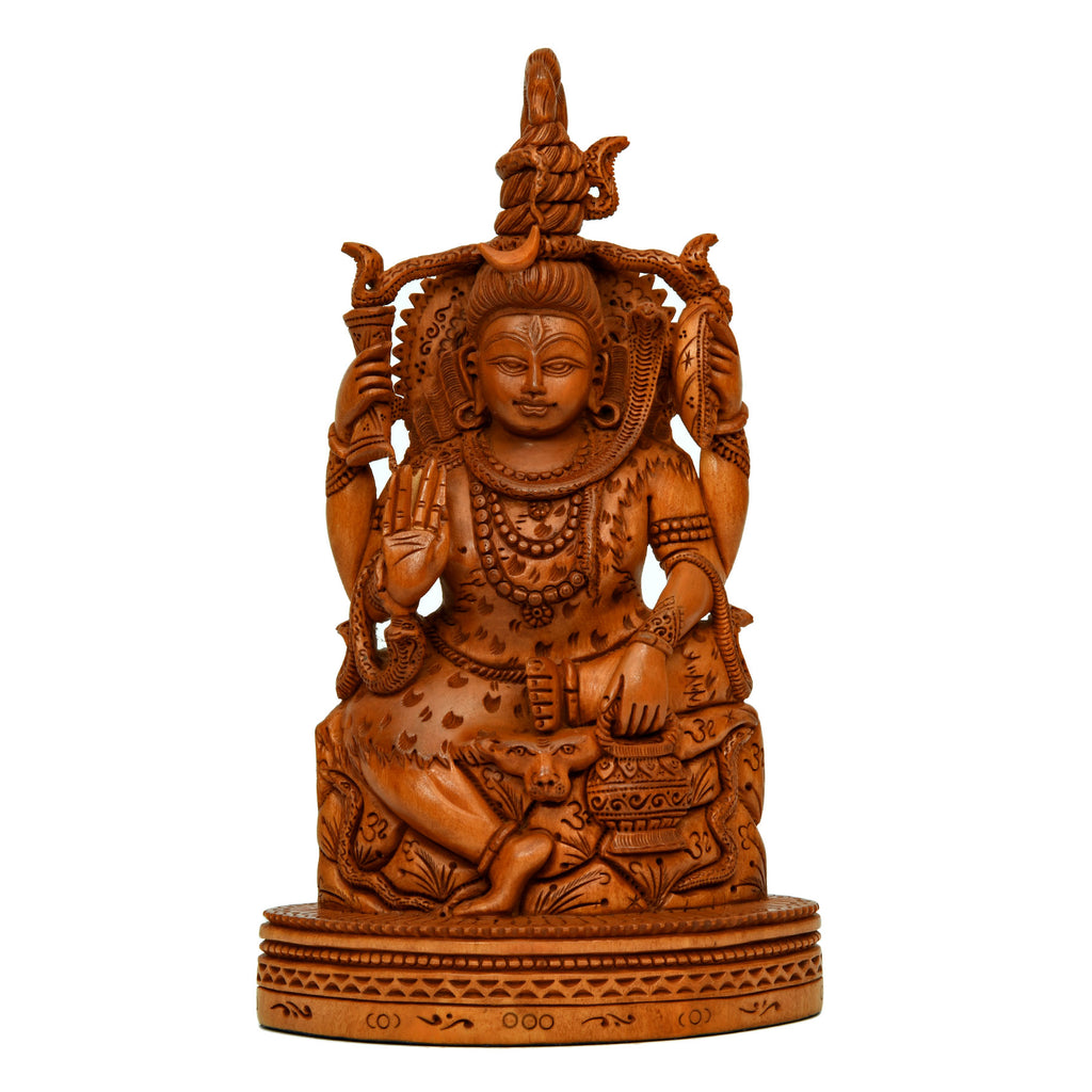 Wooden Carving Shiva Sitting