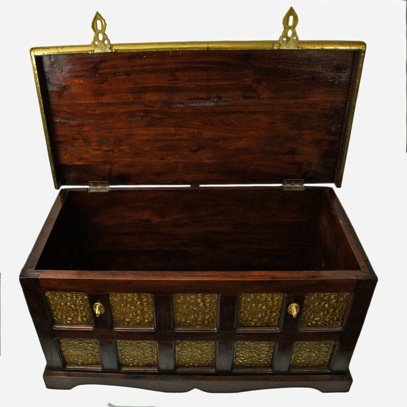 Sheesham Wooden Box With Brass Sheet Work ragaarts.myshopify.com
