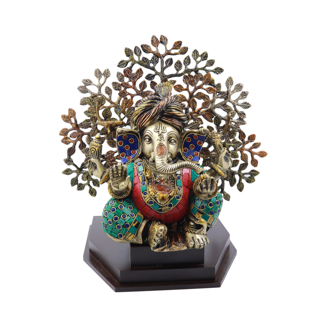 Pagdi Ganesha Sitting Under Tree On Wooden Base Stone Work