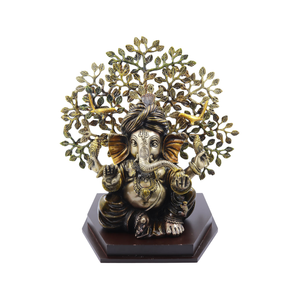 Pagdi Ganesha Sitting Under Tree on Wooden Base