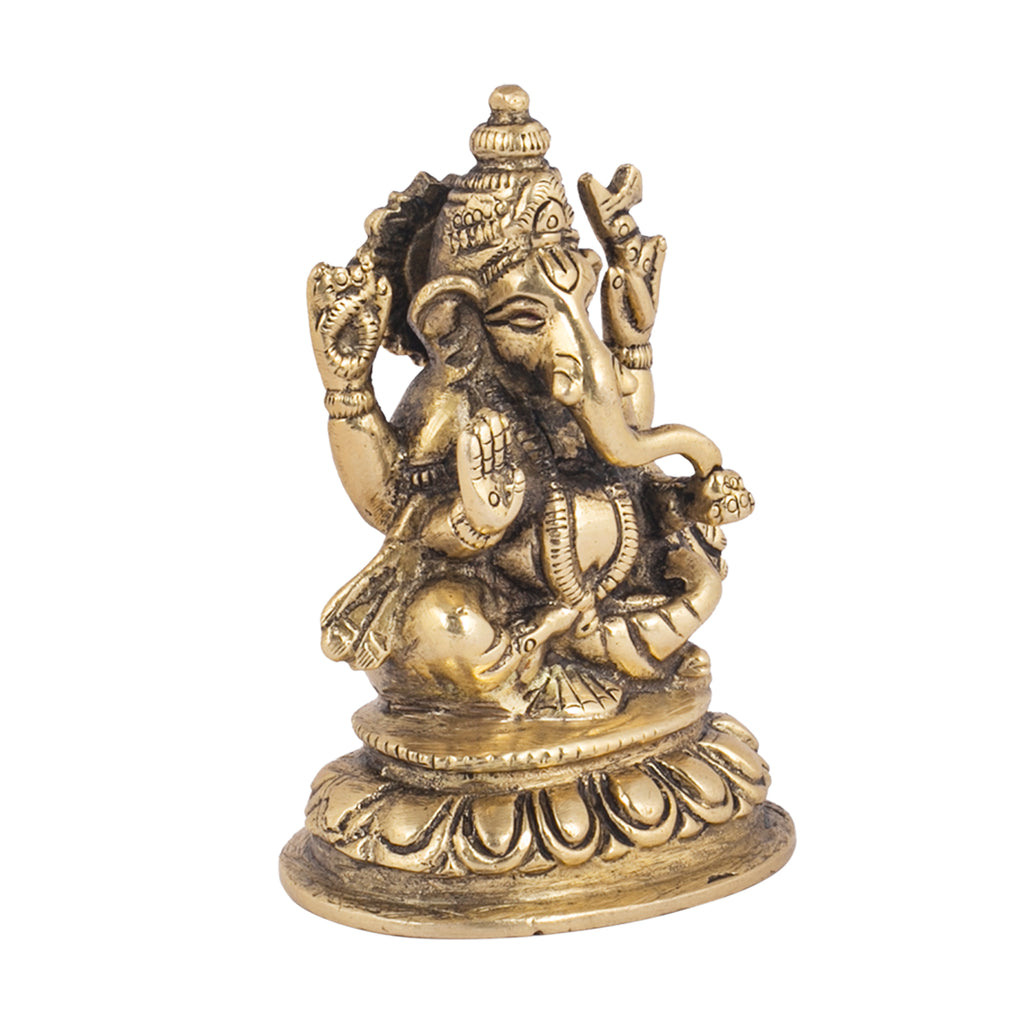 Ganesha Sitting On Lotus Base