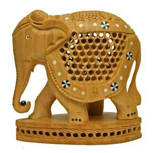 Carved Elephant With Inlay Work ragaarts.myshopify.com