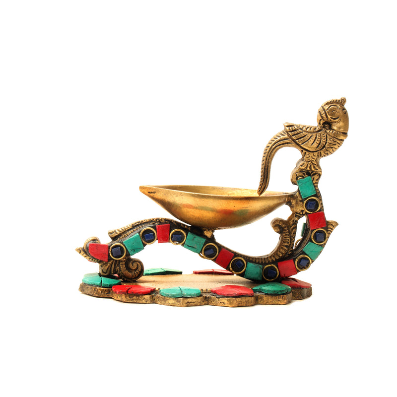 Parrot Diya with stone work