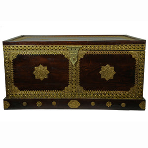 Sheesham Wooden Box With Brass Sheet Work