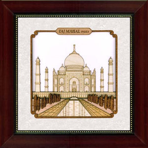 Carved 8in x 8in Taj Mahal