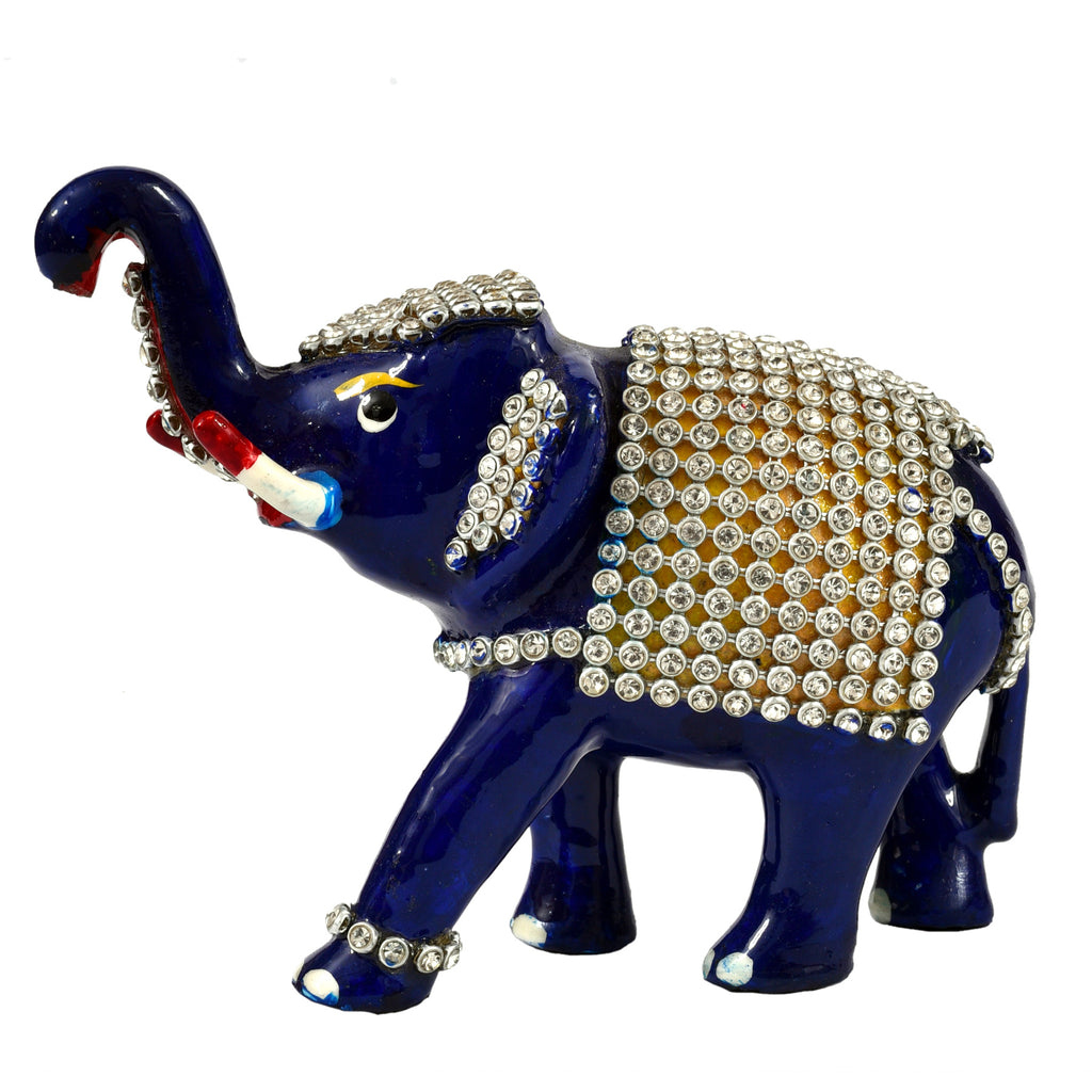 Elephant with stone work mtl pntg ragaarts.myshopify.com