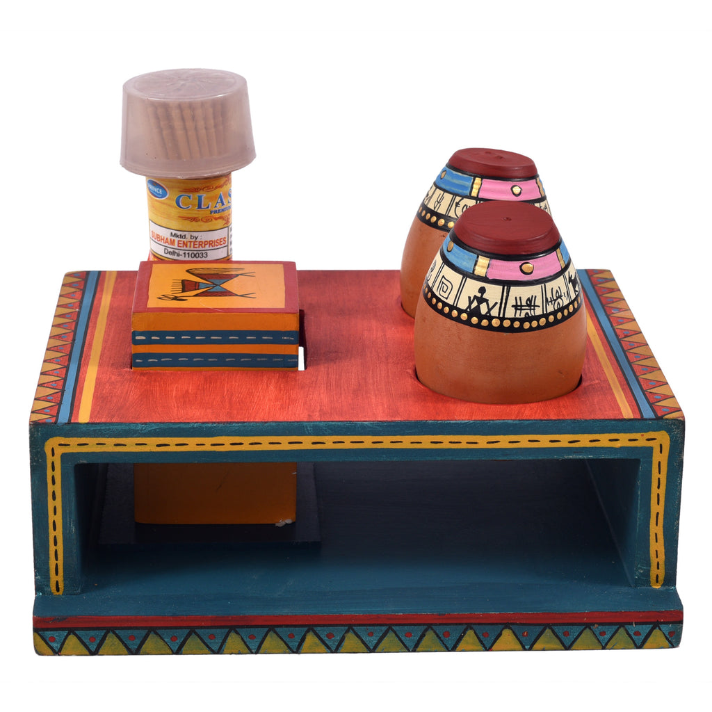 Warli Wooden Tissue Paper Holder With Toothpick N Salt N Pepper