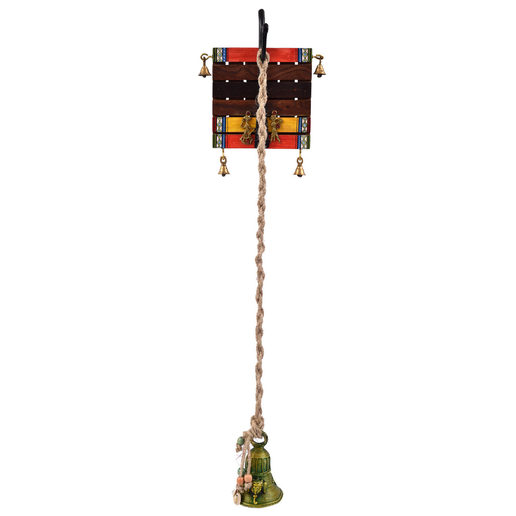 Warli art Wooden Hanger With Large Brass