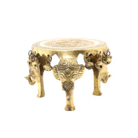 Brass Elephant Chowki With Bell