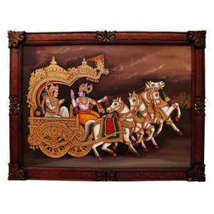 Krishna Gita Updaseh to Arjun  Canvas Painting With Frame