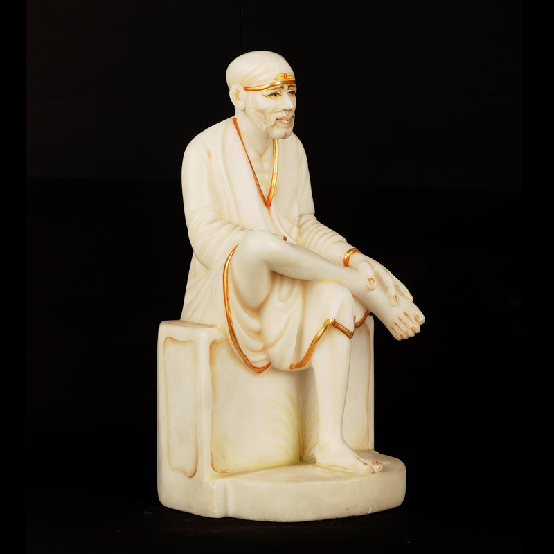 Marble Sitting Sai Baba With Painted