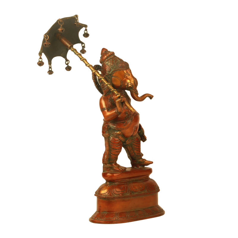 Standing Ganesha With Umbrella Copper Finish
