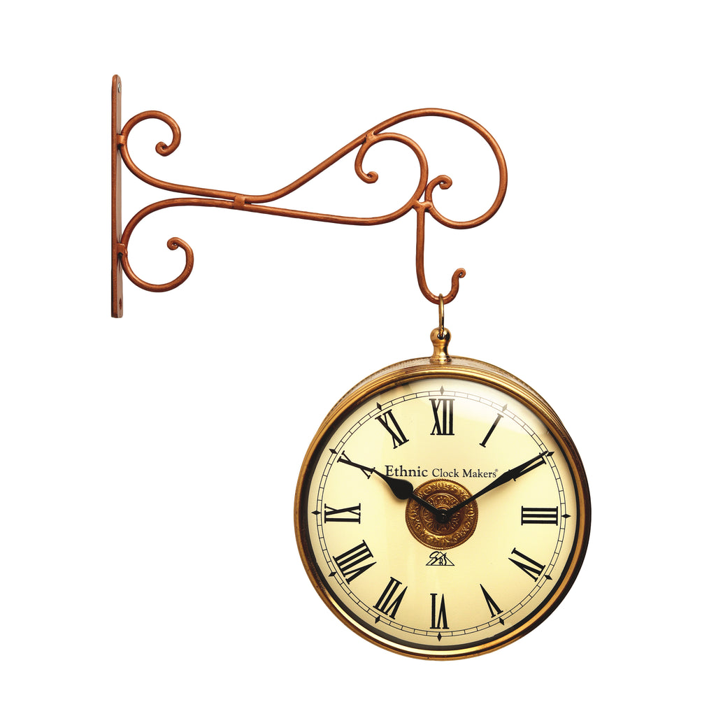 Wall Hanging Brass Double Side Station Clock