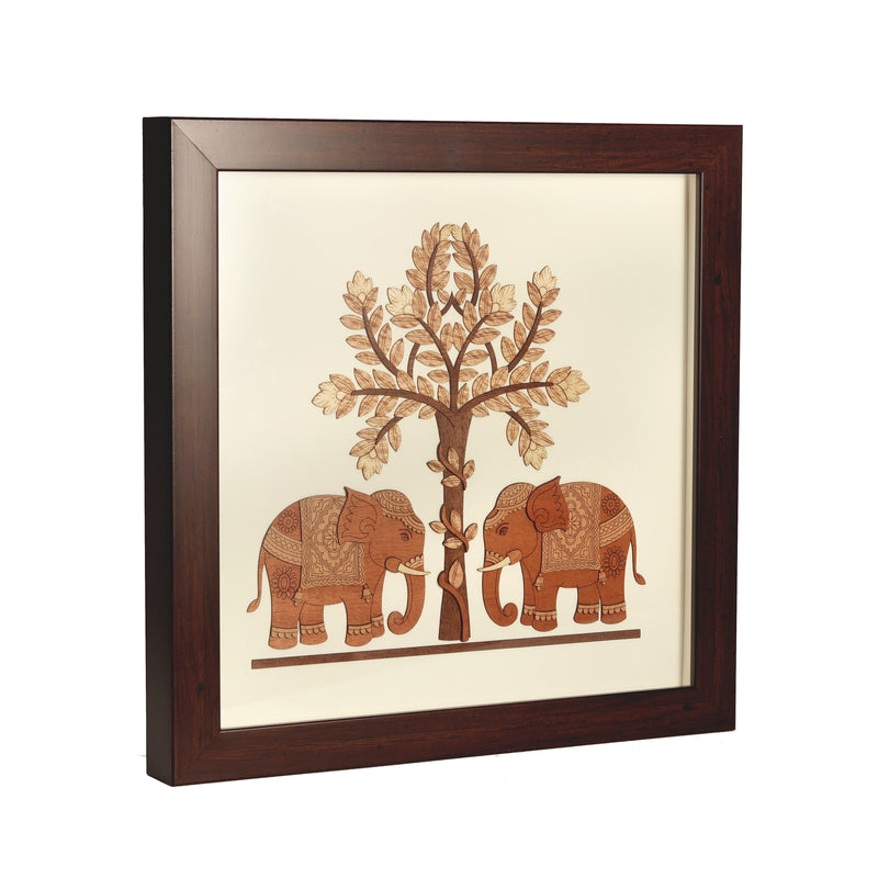 Standing Two Baby Elephant Wooden Under Tree Wooden Carving Frame