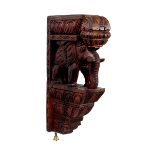 Waghai Wood Wall Hanging Elephant With Bell