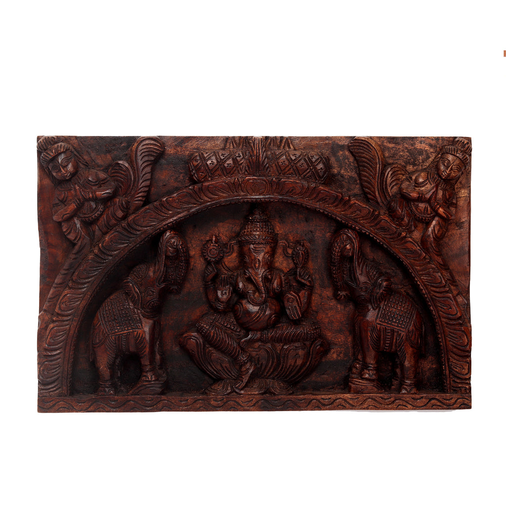 Waghai Wood Wall Hanging Ganesha Panel
