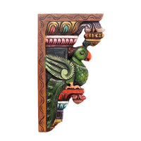 Waghai Wood Wall Hanging Parrot Bracket Coloured