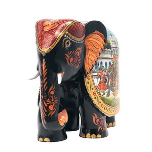 Wooden Elephant With Painted