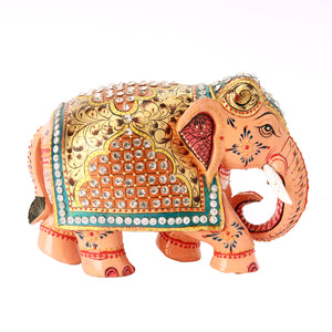 Wooden Elephant With Stone Work