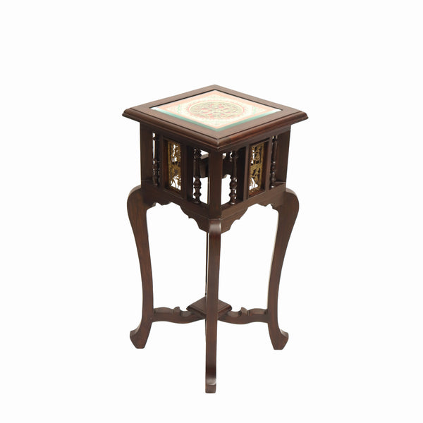 Wooden Side Table With Dhokra Arts