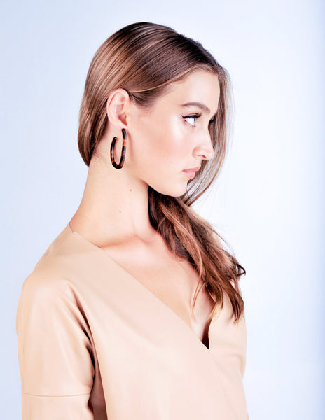 Mia Earrings - Honey Tortoise Shell - Stile Forma